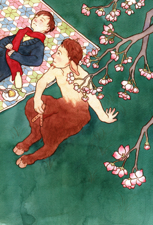 "aqueoushumor:  Unused colour art for Erik and the Faun. For some reason, the paper wouldn't allow for a perfectly flat wash, so I made do with a mottled texture instead. The scanner ended up killing the depth of the colours OTL  But I LOVE THIS ONE—when I saw the post I was like ""where's that colored one!?"""