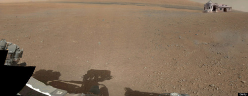 Curiosity takes first color picture on the surface of Mars.