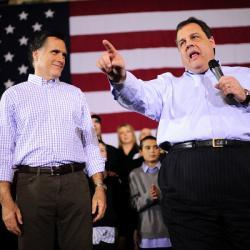 "Why Chris Christie isn't going to be the VP. Romney is not going to pick Chris Christie to be his running-mate. How do I know? He told me.  Ha! Just kidding. Got you for a second there, didn't I, Andrea Mitchell? You should have seen the look on your face! No, I can tell you that Romney is not going to pick Christie because the New Jersey governor does things like host an Iftar dinner for New Jersey Muslims and then use the occasion to call out fellow Republicans for being ""bigots"" against Muslims. ""I'll tell you,"" said Christie, ""there is a gaze of intolerance that is going around our country that is disturbing to me.""  Amy Sullivan — ""Romney Meets with the Islamaphobes"""