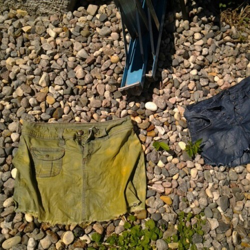 Bleaching up some denim #diy #shorts #bleach #summer (Taken with Instagram)