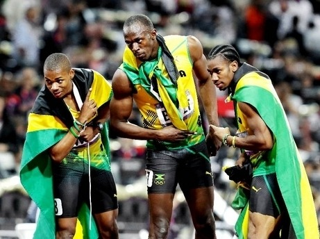 """Run dah track!"" Jamaica sweeps the 200m! Usain Bolt (gold), Yohan Blake (silver), and Warren Weir (bronze)"