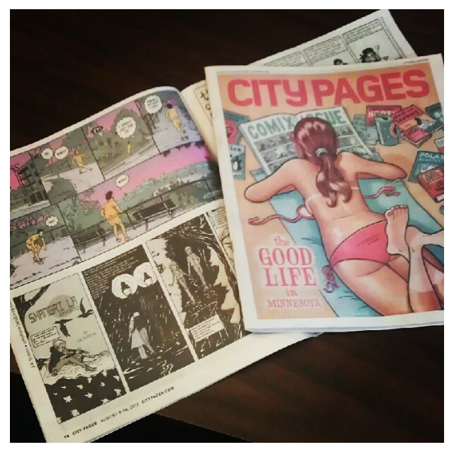 "Pick up a copy of the City Pages Comics issue, featuring PUNY's own Evan Jazzy Palmer and Tim ""Tim"" Sievert!"