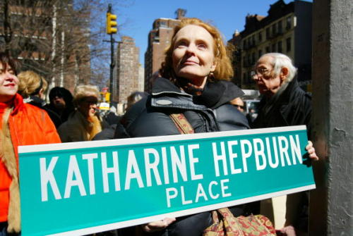 Katharine Houghton holds a replica of a street sign at the corner of 49th St. and Second Ave. as the Turtle Bay Association holds a ceremony to rename the section of 49th St. between Second and Third Aves. Katharine Hepburn Way in honor of the legendary actress. Houghton is Hepburn's niece. This was on March 14th, 2005.