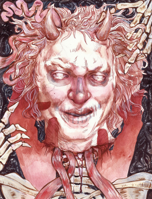 Satan Helen Bayly    8.5 x 11 inches © 2012 Ink, Acrylic Paint, Paint Marker, and Human Blood Framed to 10 x 12.5 inches Artist Site: Helen Bayly