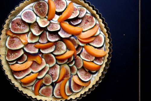 fig, apricot, and mascarpone tart.