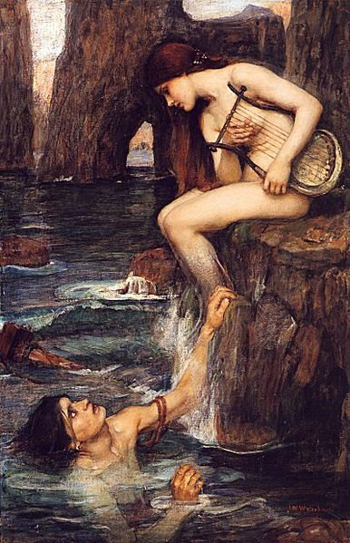 "collective-history:  The Siren, by John William Waterhouse (circa 1900) In Greek mythology, the Sirens were dangerous and devious creatures, portrayed as femmes fatales who lured nearby sailors with their enchanting music and voices to shipwreck on the rocky coast of their island. Roman poets placed them on some small islands called Sirenum scopuli.  Although they lured mariners, for the Greeks the Sirens in their ""meadow starred with flowers"" were not sea deities. Roman writers linked the Sirens more closely to the sea, as daughters of Phorcys. Sirens are found in many Greek stories, particularly in Homer's The Iliad. via"