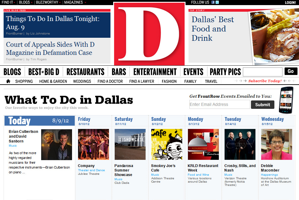 Front page of the D Magazine events page. What else would you rather be doing in Dallas on a Saturday night?