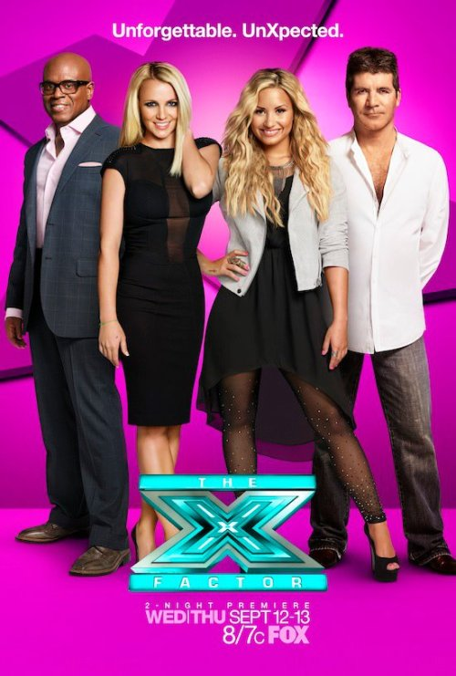 "The first ""X Factor"" season two poster, feat. Demi Lovato and Britney Spears, was released today! Are you excited to see Demi & Britney on the show?"