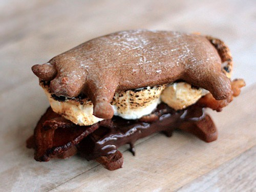 thedailywhat:  National S'mores Day of the Day: To honor what really should be a national holiday, here's The Recipe You Didn't Know You Needed: Bacon S'mores. [tastespotting]  Maybe too late for me… I really could have used this recipe just a few nights ago somewhere north of Sonoma.