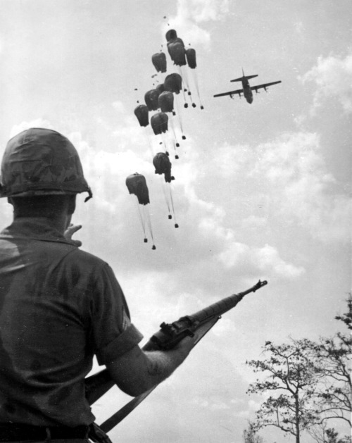collective-history:  Air drop of supplies in Operation Junction City, Vietnam, ca.1967