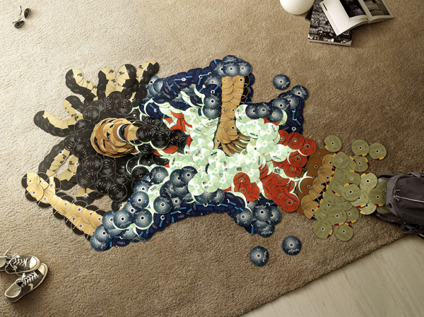 myedol:  CD Mosaics by Mirco Pagano & Moreno De Turco Mosaics of famous musicians created out of their own albums. Around 6500 CD's were collectively used for all the images and the effect is outstanding. They were created for an anti piracy campaign and the full set can be seen here.  Artist: | Behance |  [via: Visual News]   Impressive!