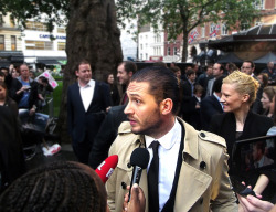 // Tom in the crowd for The Dark Knight Rises premiere in London ps - behind him is Sarah Edwards from blag Magazine, she was his right-hand that evening