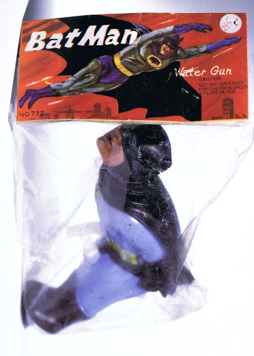 Love Gun (the infamous) Batman water pistol in original package circa 1966 :: scanned from Chip Kidd's Batman Collected :: Little, Brown & Company :: 1996
