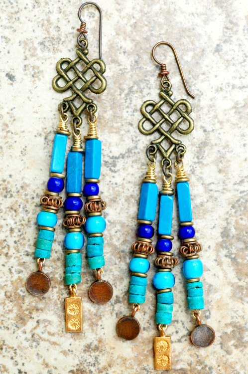 Blue, Copper and Gold Chandelier Charm Earrings