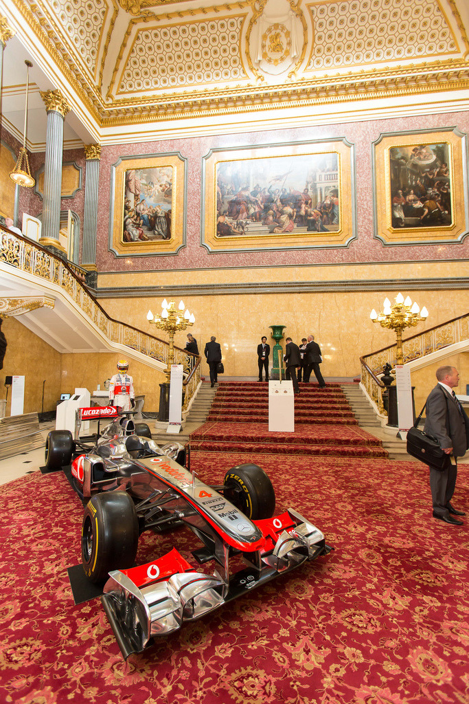 McLaren F1 car in the Entrance Hall at Lancaster House, plus model with Lewis Hamilton's actual helmet.  As one Twitter commentator noted, the British Business Embassy makes a pretty posh pitstop.