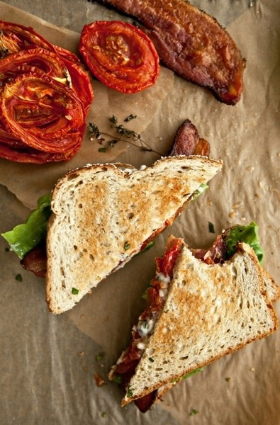 yummaystuff  sundried tomato and bacon toasted sandwich.
