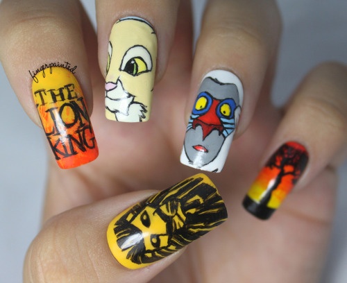 finger-painted:  http://finger-painted.blogspot.com/2012/08/the-one-with-lion-king-nails.html