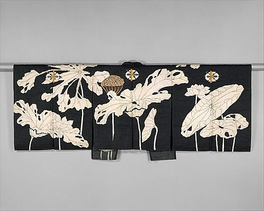 Kyogen Costume: Jacket with Design of Lotuses Period: Edo period (1615–1868)Date: early 19th centuryCulture:JapanMedium: Resist-dyed and painted plain-weave bast fiber (asa) (via non-westernhistoricalfashion:)