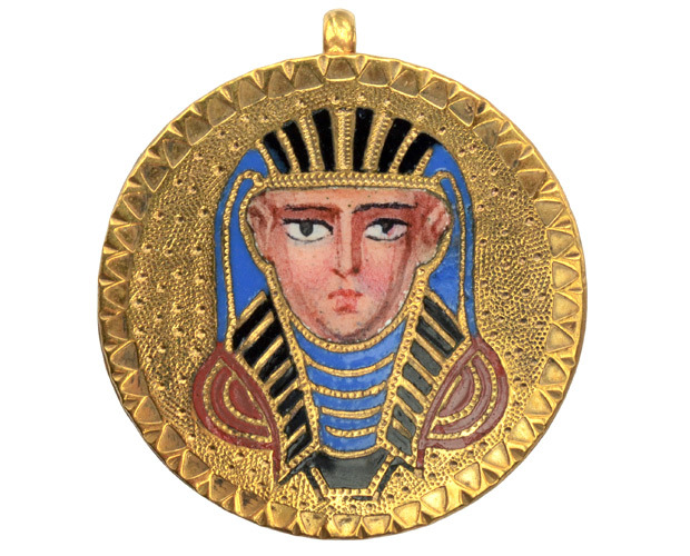 1870s Egyptian Revival Enamel Pharaoh Pendant
