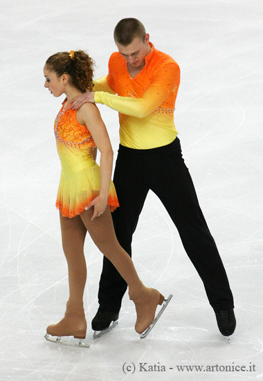 Danielle Montalbano and Evgeni Krasnapolski's short program costumes at the 2010 World Championships.