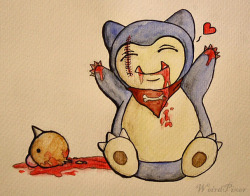 A hungry baby Snorlax ;P Love Snorlax he is so cute <3 but poor Weedle =< I think I will draw more Pokemon :3  //I have nothing against Pokemon, I love all Pokemons I just draw Morbid art!