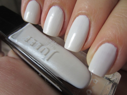 "julep ""kate"" absolutely obsessed with this white! it really is a great white formula! opaque in 2 coats and the subtle shimmer makes it have a demi-matte sort of look.  so stunning and great for summer.  i just which this wasn't so expensive!"