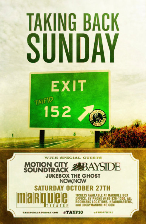 luckymanconcerts:  Taking Back Sunday/Motion City Soundtrack/Bayside tickets on sale today! www.luckymanonline.com  Take me to this