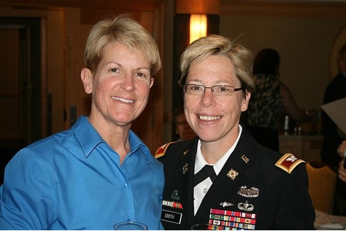 Brigadier General Tammy Smith made history today as the highest ranking openly gay officer. Here with her wife, Tracey Hepner, left, co-founder of Military Partners & Families Coalition.
