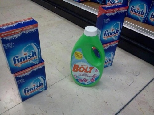 Bolt crossing the finish line.