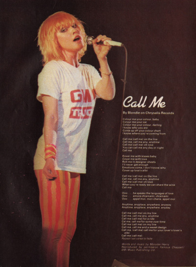 Call Me By Blondie on Chrysalis Records