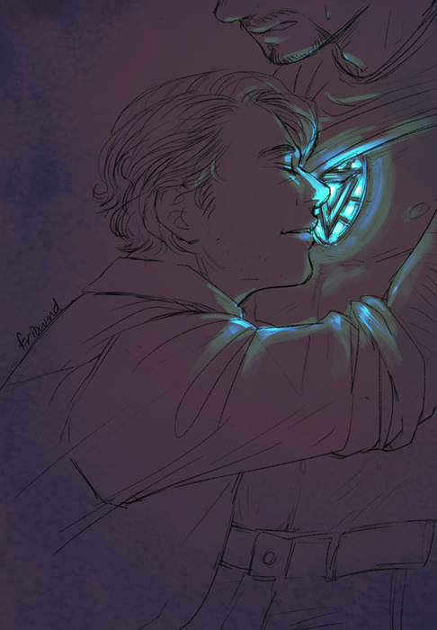 *3* Wanted to draw some Bruce/Tony that featured the arc reactor again! It really is super pretty….. Also some more assertive Bruce, because as much as I like awkward and embarrassed Bruce, when he's the one making the moves, it means he's not tiptoeing anymore! ;0;