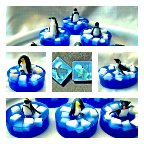 Like penguins?  We have a variety of Penguin soaps, which you can customize to any of our tantalizing fragrances!  Click here for our entire line of embedded toy soaps! (Collage credit: Carmen Barnes)