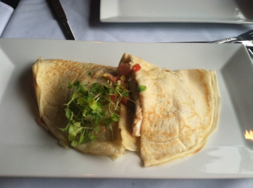 decadentdishny:  This was a Southwestern Crepe, also from the Red Parrot Bistro. It had chicken, corn, peppers and a spicy sauce