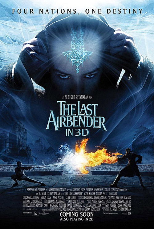 Title: The Last Airbender Number: Two Hundred and Nine Writer & Directer: M Night Shyamalan Genre: Fantasy Adventure. Released: 2010. Seen on: Sky Movies. Seen Before: Never before. Starring: Noah Ringer, Dev Patel, Nicola Peltz, Jackson Rathbone, Shaun Toub,  Running Time: 103 minutes. Favorite Moment: The opening credits utilize all four major elements (Earth, Wind, Fire, Water) in a clever manner. Thoughts: This is a film that became infamous for being the supposed death knell of M. Night Shyamalan. It supposed slammed the coffin shut on his career, his gradual deterioration from 'The Sixth Sense', through 'Unbreakable' and 'Signs', down to 'The Happening', and ending with the premiere of 'The Last Airbender'. Well, all I can say, is that it is a mess. I put as my favorite moment, being the opening credits, and to be honest, from then on, it just got worse and worse. By the end of the film, I was losing the will to live. One of the problems, is that, the film is just boring, dull, achingly boring. It's supposed to have a lot of action, but even the action was boring. Many of the fight scenes were either slow-motion or one-shots, with the camera turning around several times, and moving in & out of close-ups, to allow multiple actions to happen. That is all very good, but the action is so laboured, and processed, that there is a complete lack of fluidity, and interest. You don't care about the fight scenes, because there is so little to draw you in inbetween that. I looked up afterwards, and supposedly, Shyamalan attempted to shoehorn pretty much 13 episodes worth of material into one film. That does not surprise me, because there was probably at least 5 instances, where instead of character development, the voice-over would tell us what had happened. In one instance, the voice-over tells the audience that when two characters met, they instantly became best friends. Next scene, they are talking together, because the plot dictates so, but have no chemistry. Every voice-over was painful and lazy plot contrivance. The acting was very forgettable, the characters were pawns in a chessboard, being moved into position because the plot desired it. The actors playing them were also given little or no character motivations it seems, struggling with scenes that were cobbled together. I was even shocked at how terrible Dev Patel was, considering his strong performance in films such as 'Slumdog Millionaire'. Knowing how good he can be, I feel it can only be he was terribly miscast, which was a gutting moment, as even a good villain can sometimes elevate a film a little (i.e. Jeremy Irons in 'Dungeons and Dragons'). And it certainly didn't help that in a film which relies upon CGI, that the CGI was often awful and distracting. Every scene, the actors looked like they were standing in front of green screens, and couldn't be ignored. The biggest insult I can give this film, is that at no point, did it suggest it was based on a supposedly brilliant animated TV series. In no manner would this tempt me to ever watch the series. It is only the fact I knew before this movie of the series, that I may ever watch it. Thumbs Down, 2 out of 10
