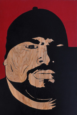 sun-chi-som:  big pun by som. wood cut one off stencil on birch. spray paint and acrylic. 2012