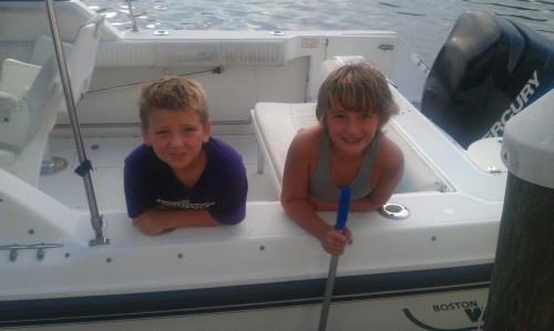 Adam and Matt on poppops boat