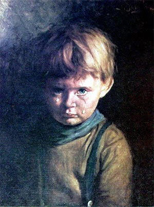 "The Curse of the ""Crying Boy"" Painting This is the story of the Crying Boy or, more specifically, The Portrait of the Crying Boy.  According to legend, a fire gutted a home in 1985 destroying everything inside with one strange exception… pulled from the wreckage was an odd painting of a crying child.  The painting was uncharred and completely undamaged aside from a little soot. As the story goes, the painting passed hands and, in 1988, there was another fire in the home of the new owners and, again, the sole surviving artifact was the painting of the crying boy. The myth says that the painting of the crying boy was found in the remains of several homes gutted by fire.  One woman even said that she only had the painting for six months before her home was destroyed. Whatever the case… fact or fiction… there is one fact that is both insidious and comical at the same time.  When a retiring Yorkshire Fireman was given a framed copy of the painting as a going away gift, he politely refused it."