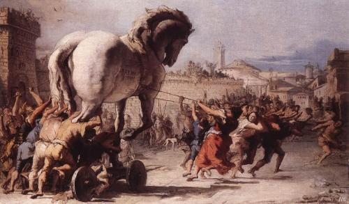 hadrian6:  the procession of the Trojan horse. 1773. Giovanni Domenico Tiepolo.  http://hadrian6.tumblr.com