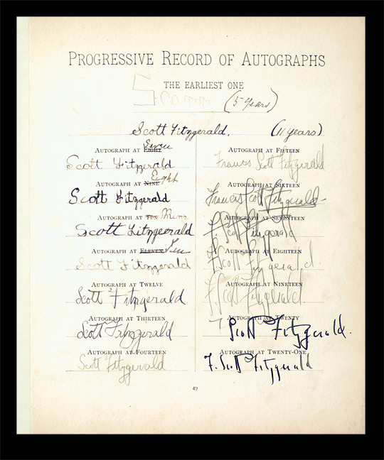 F. Scott Fitzgerald's signature throughout the years, ages 5 to 21.