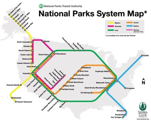 middlemuse:  mizujada:  chidorme:  ilovecharts:  National Park System as a Subway Map  Subway maps are legitimately one of my top ten favorite things in life.  Dude what if there was a real train system that actually took you to all the parks like this?  New life goal: visit every national park. I have a head start since I'm from Colorado.  North Cascades, Olympic, & Mount Rainier are all a reasonable driving distance from my house. Just sayin'.