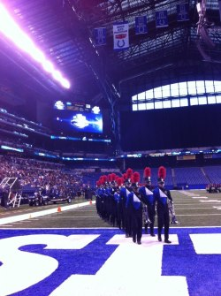 theblueknights:  The 2012 Blue Knights coming off the field after DCI Semifinals.
