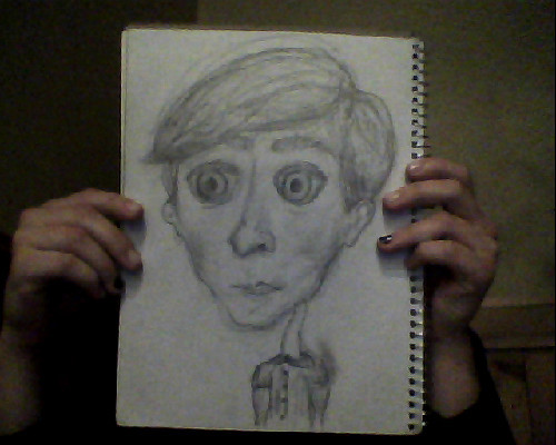 I did this creepy caricature of Josh last week. I'm way more proud of it than I should be, but it amuses me. I also don't think it's too bad for being the first actual sketch I've attempted in basically forever, and for being based upon memory alone!