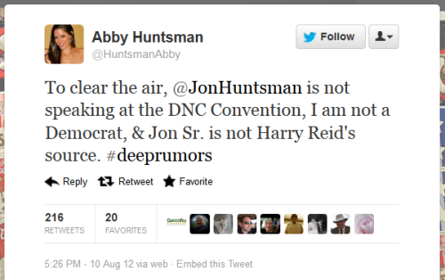 Jon Huntsman's daughter is clearing up some of the rumors that are floating around. I've seen the DNC rumor on my dash several times in just a few minutes of scrolling. So heads up, folks.