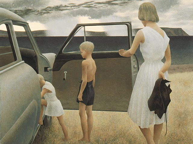 carnetimaginaire:  Alex Colville, Family and rainstorm (1955)