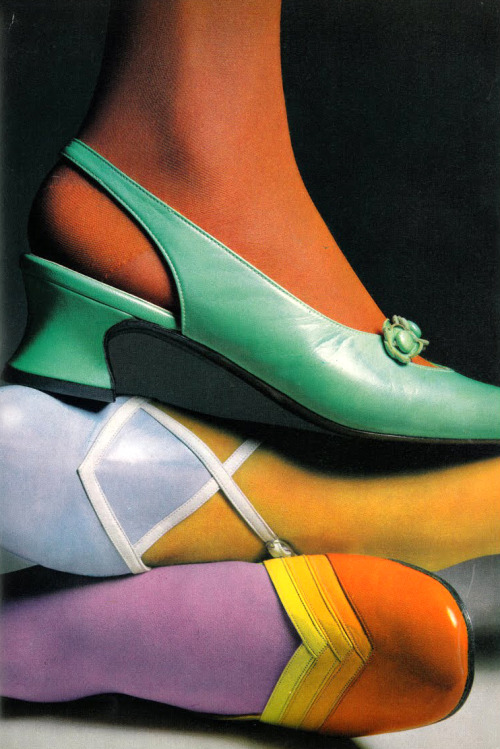 Shoe fashions photographed by Julian Cottrell for Vogue UK, 1968.