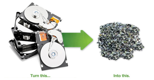 "Ever see a computer hard drive go through a shredder?  Click the photo and then check out the ""Watch Hard Drives being Shredded Here"" tab at the bottom of the page!"