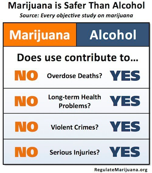 """Every objective study on MARIJUANA has concluded that it IS FAR LESS HARMFUL THAN ALCOHOL to the user and to society."" Get the facts at www.Marijuana-vs-Alcohol.org and then share this graphic with people who need to learn more about marijuana. PUFF PUFF PASS!!"