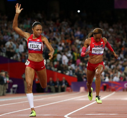 Allyson Felix, winning the 200M.