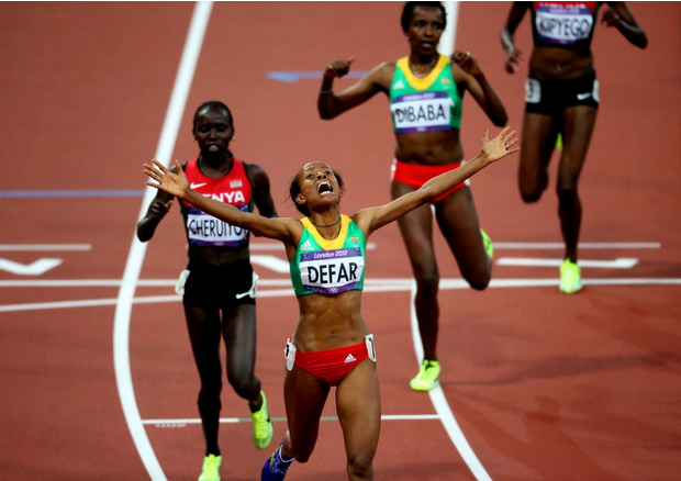 Meseret Defar of Ethiopia wins gold in 5000M