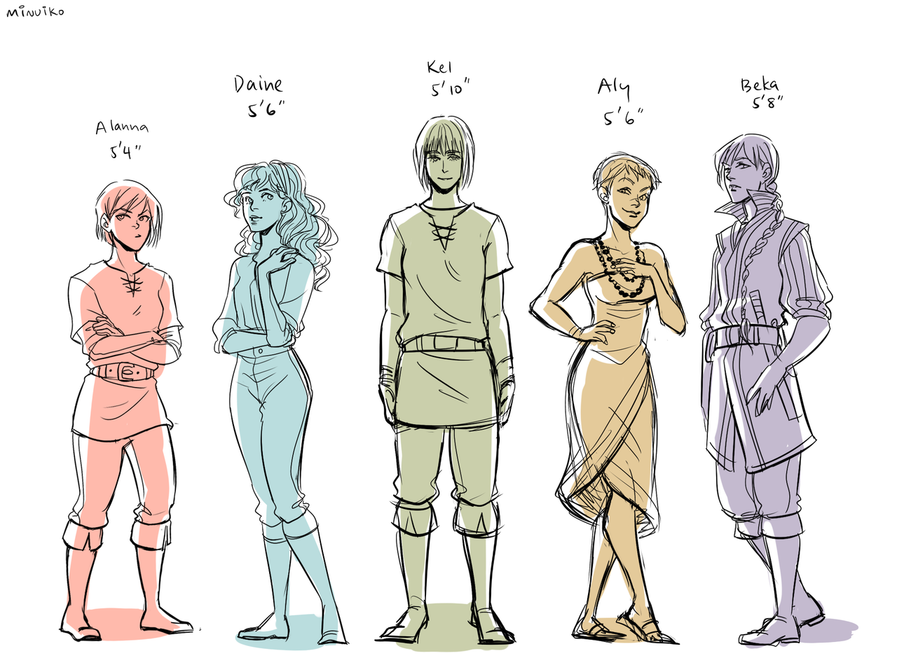 minuiko:  Height comparisons of the 5 Tortall protagonists :)